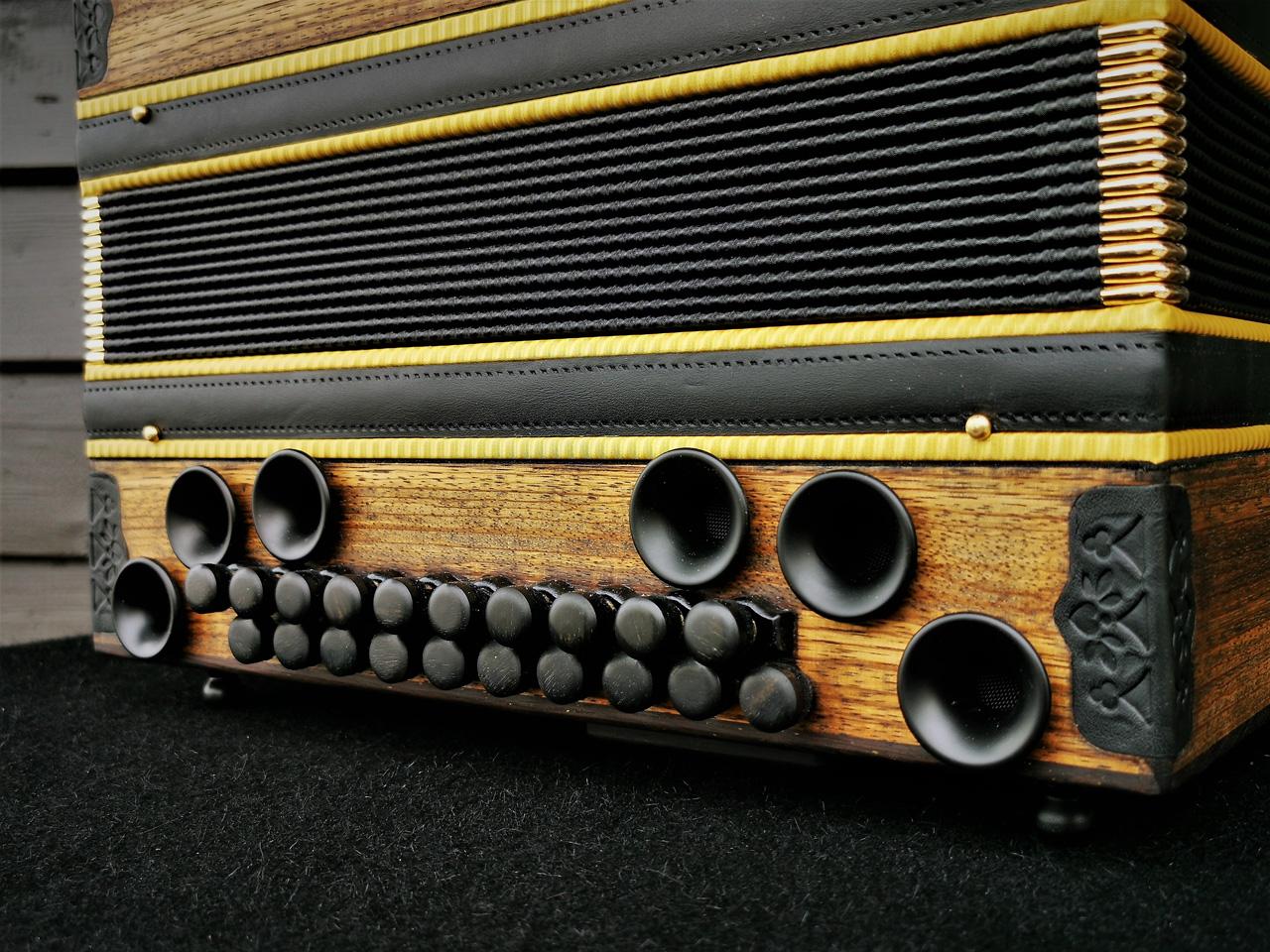 Steirische Harmonika Zebrano antike Optik Bass-Seite
